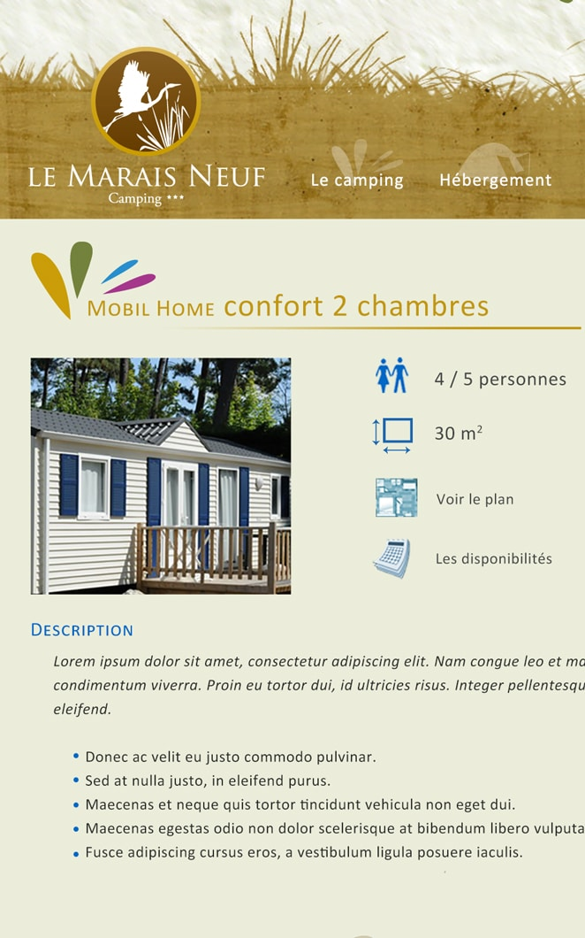 Camping fiche hébergement Marais neuf
