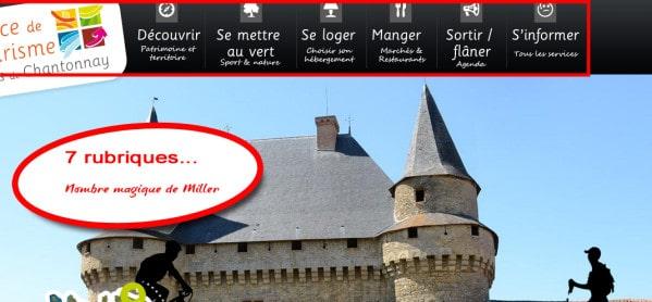 Navigation site intenet Office de Tourisme de Chantonnay