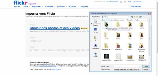 importer des photos sur flickr