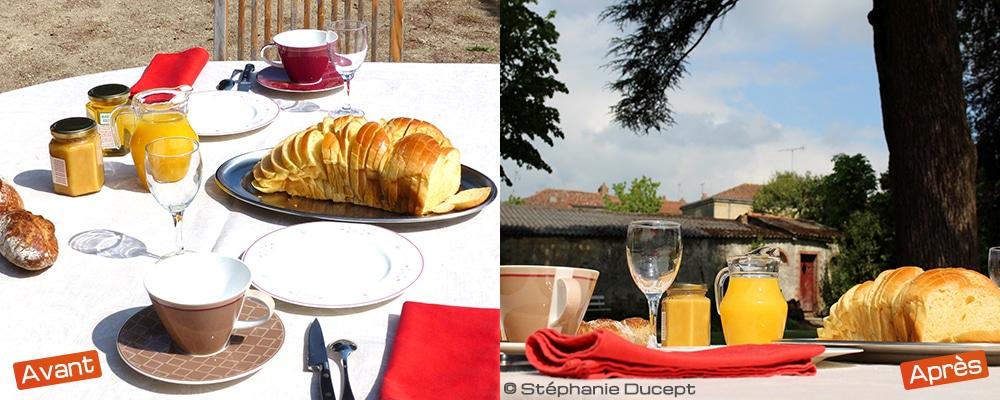 Hauteur d'oeil pour une photo de petit déjeuner en maison d'hôtes