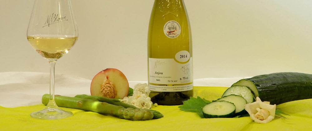 Tableau oenologique bouteille Anjou blanc