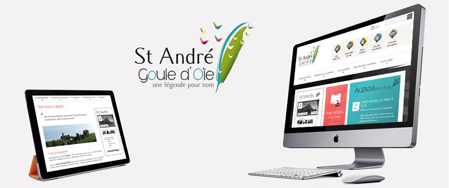 Site internet de la Mairie de Saint André Goule d'Oie sur tablette et ordinateur