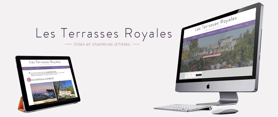 Site internet des chambres d'hôtes Les Terrasses Royales sur tablette et ordinateur