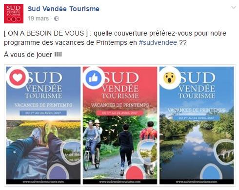 Choix de la couverture d'une brochure pour sud vendée tourisme