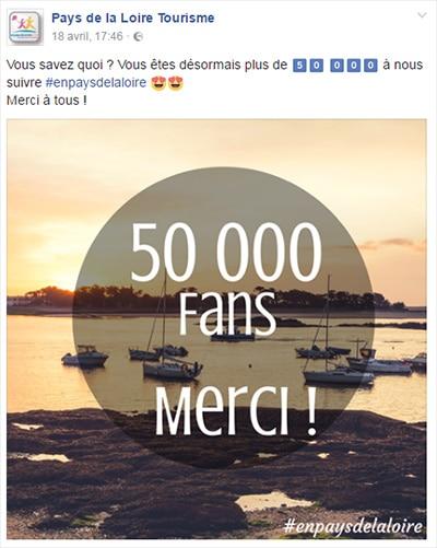 remerciements aux fans sur facebook