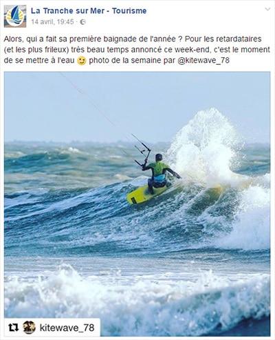 La photo de la semaine sur la page facebook de la tranche sur mer