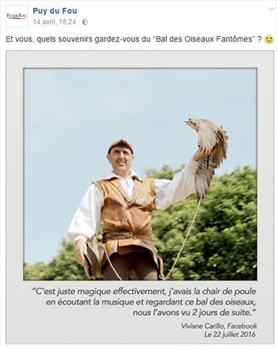 Question sur la page facebook du puy du fou