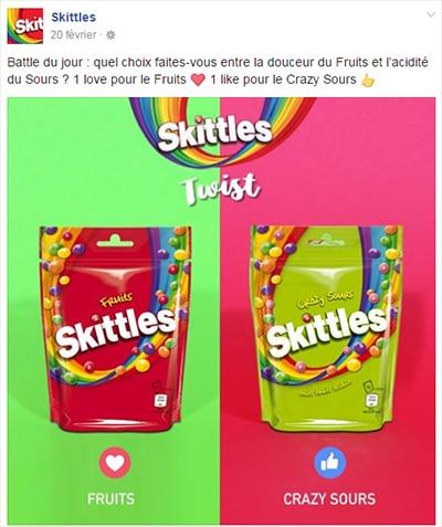 choix sur la page facebook skittles
