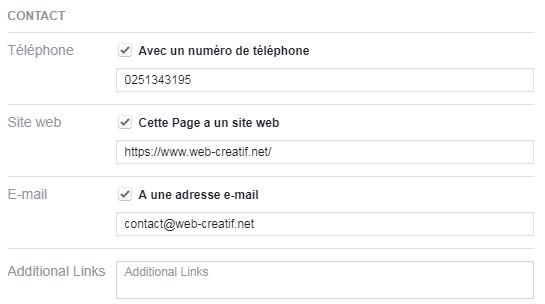 Bloc de contact sur une page Facebook