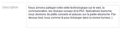 Description d'une page Facebook