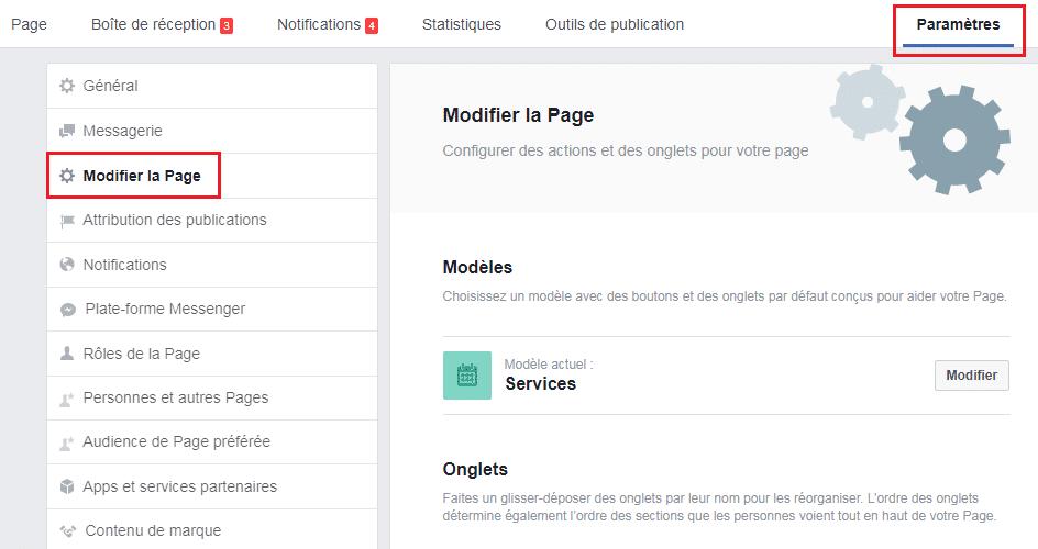 Paramètres Facebook pour modifier la page