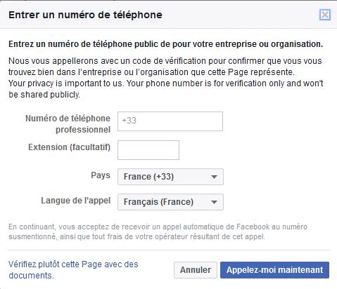 Être appelé pour rendre sa page Facebook officielle