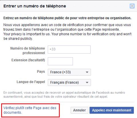 Faire valider sa page Facebook avec des documents