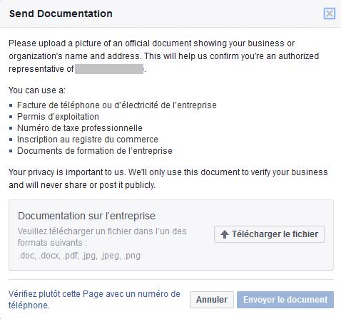 Valider une page Facebook avec des documents