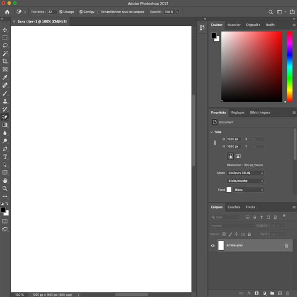 Contenu formation photoshop interface