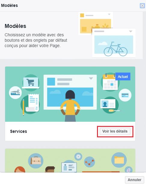 Modèles de page Facebook